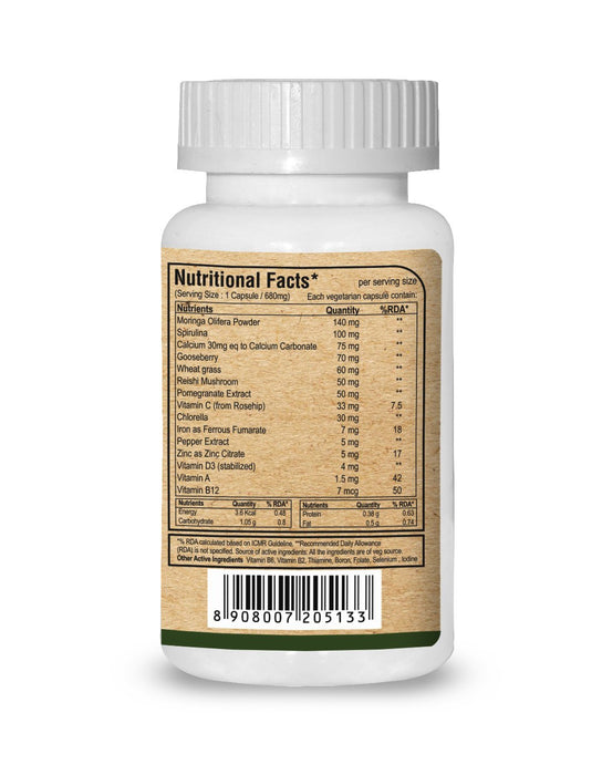 Pure Nutrition Moringa Vital with Vitamin B 12 and D3 - 680 mg - 60 veg caps - NutraC - Health & Nutrition Store