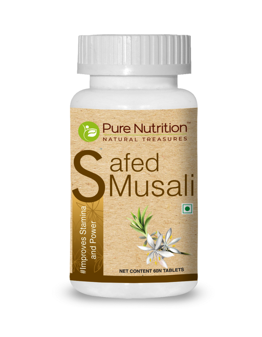Pure Nutrition Safed Musali (Improves Stamina and Power) 60 Tablets - NutraC - Health & Nutrition Store