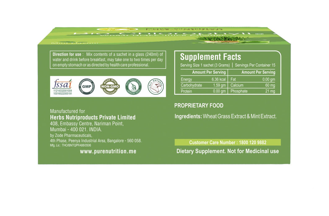 Pure Nutrition Biochlorophyll - Wheat Grass Extract Powder- 15 Sachet - NutraC - Health & Nutrition Store