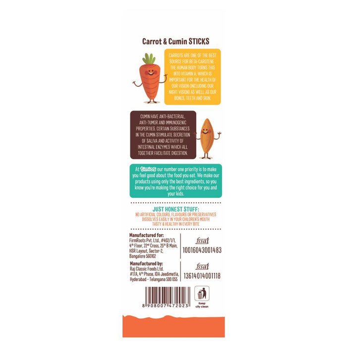 Timios Carrot Cumin Sticks 50 gm -Pack of 3 (50g x 3) - NutraC - Health & Nutrition Store