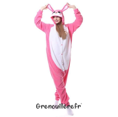 Grenouillère adulte lapin rose