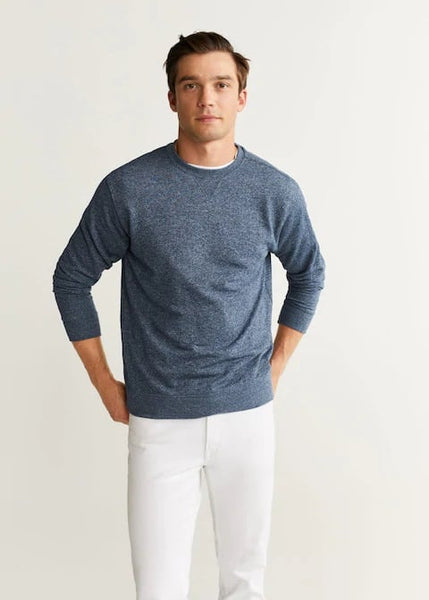 "Flecked Cotton-Blend Sweatshirt ""Dark Navy"""