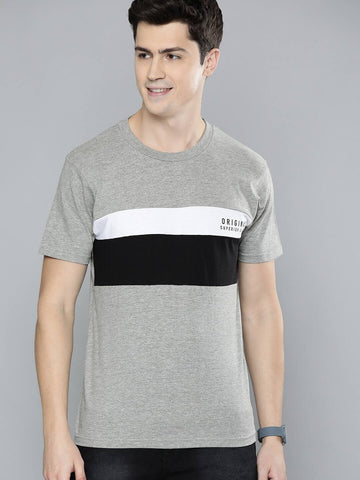 Panel Contrast T-Shirt (Grey)