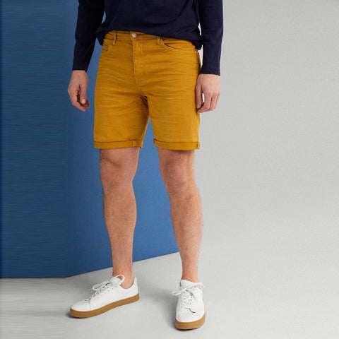 "'Slim Fit' Stretch Bermuda Short ""Mustard"""