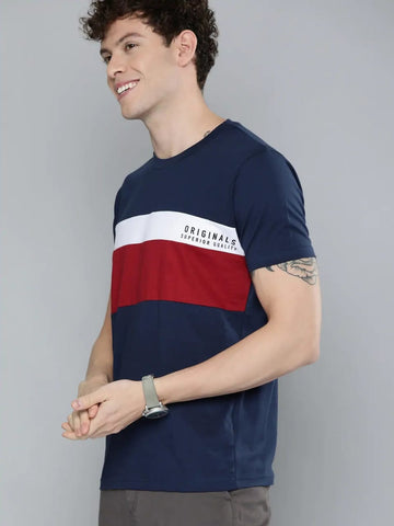 Panel Contrast T-Shirt (Navy)