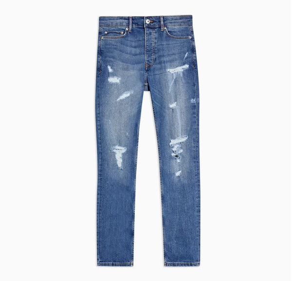 Mid Wash Rip And Repair Skinny Jeans