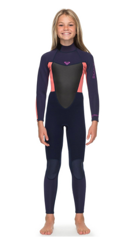 Previous Next ROXY GIRLS PROLOGUE 4/3MM BACK ZIP WETSUIT BLUE RIBBON / CORAL FLAME ERGW103022