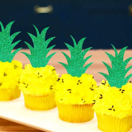 Pineapple Leaf Cupcake Toppers - Set of 10