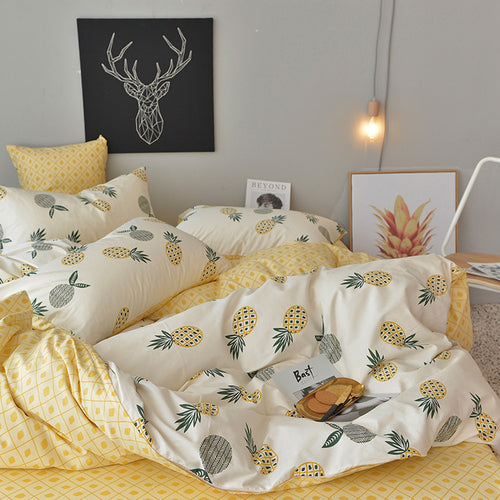 Pineapple Bedding Set Cotton Bedlinen (flat Sheet+Pillowcase+Duvet Cover set)
