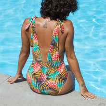 Load image into Gallery viewer, Pineapple Print One Piece Swimsuit