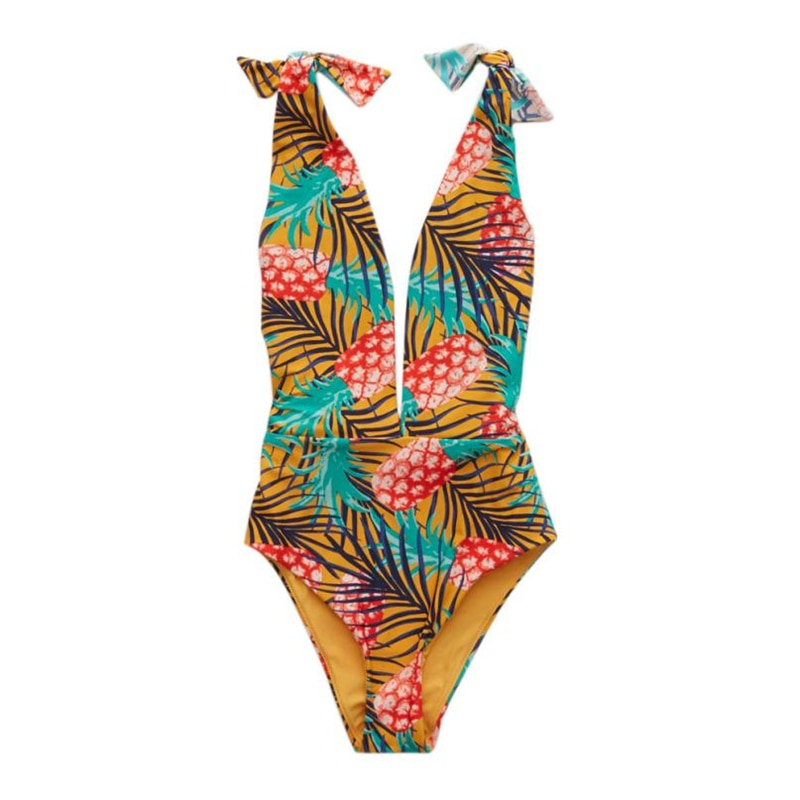 Pineapple Print One Piece Swimsuit