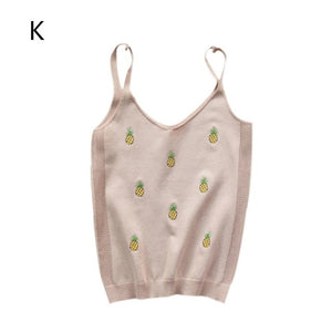 Pineapple Embroidery Slim V-neck