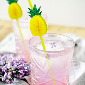 Pineapple Flexible Plastic Straw Set