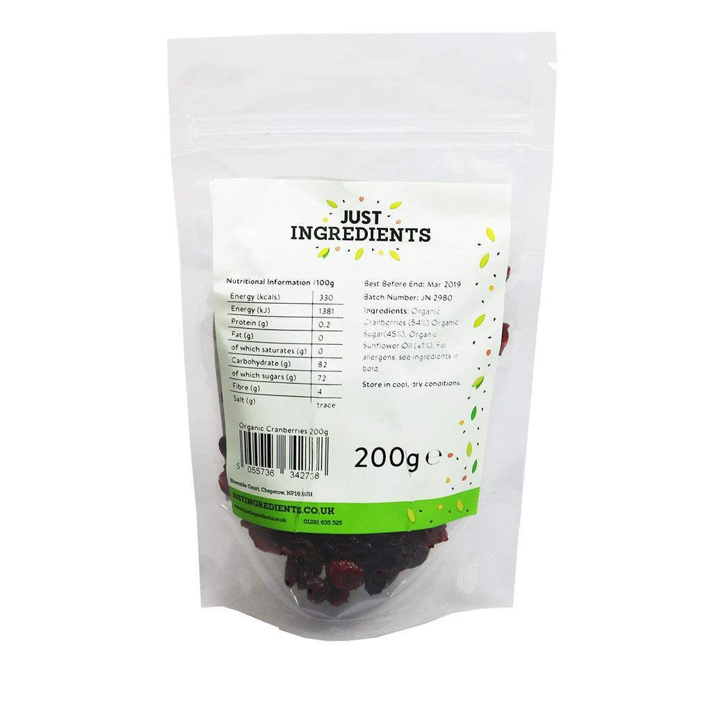 JustIngredients Organic Dried Cranberries