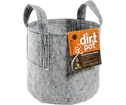 Dirt Pot Flexible Portable Planter, Grey (with handles)