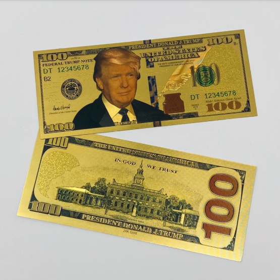Donald Trump Authentic 24kt Gold Plated Commemorative $100 Bank Note