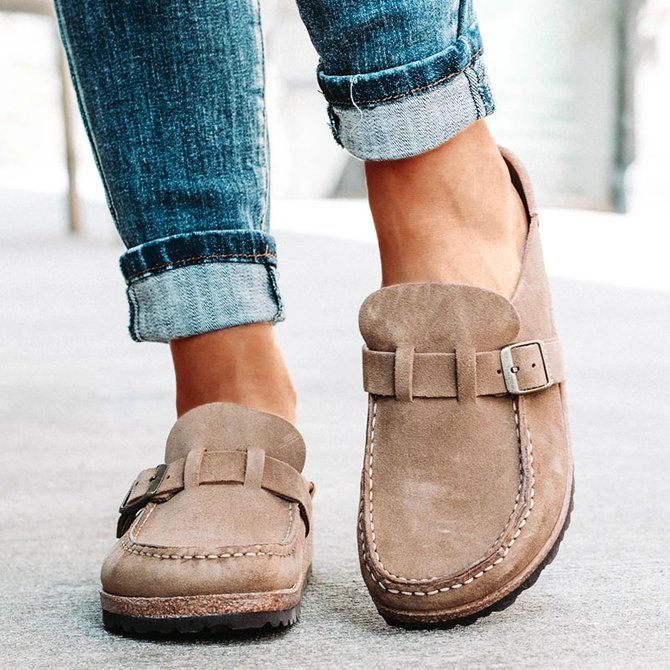 Women Casual Comfy Clogs Suede Leather Slip On Sandals