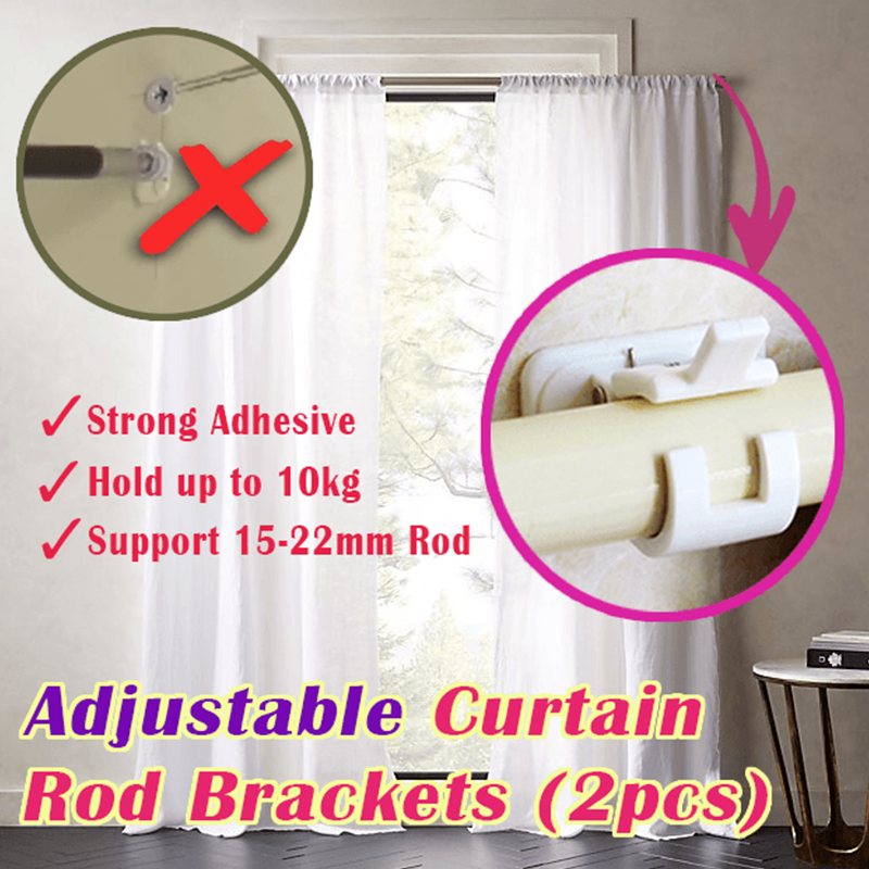 Nail-free Adjustable Rod Bracket Holders (Set of 2)