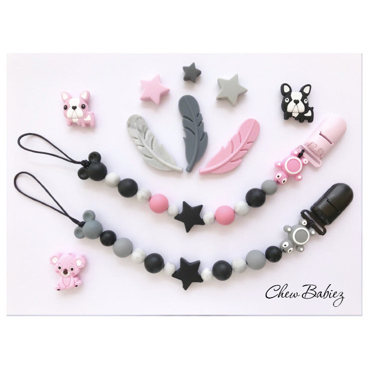 Pinky Grey Pacifier Clips