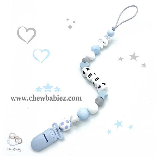My Blue Little Bunny Pacifier Clip