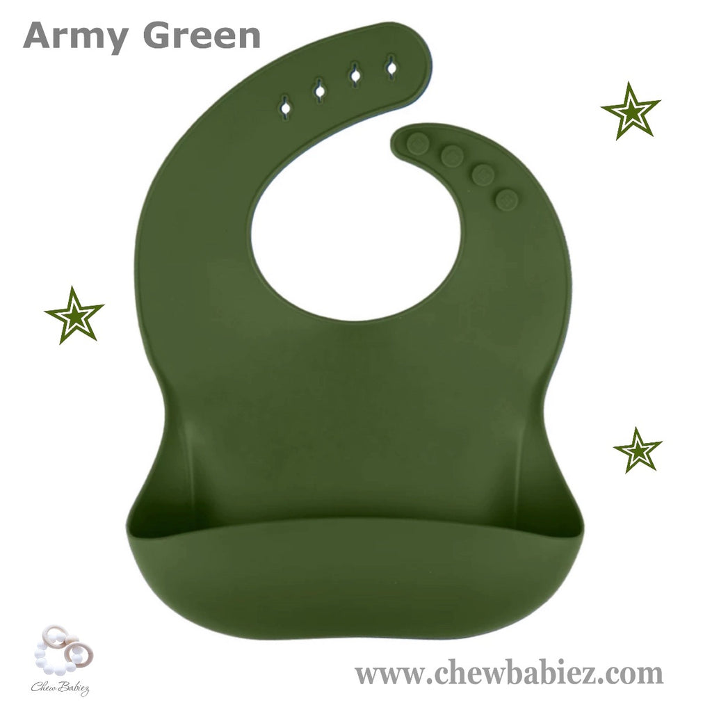 Army Green Silicone Baby Bibs
