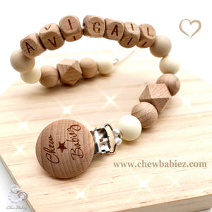 Natural Wooden Pacifier Clip