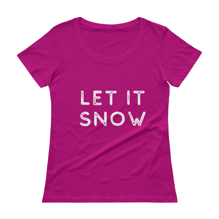 Ladies' Scoopneck T-Shirt - Let It Snow