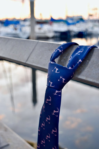 Navy Blue and Pink Cape Cod and the Islands Neck tie- 100% Silk