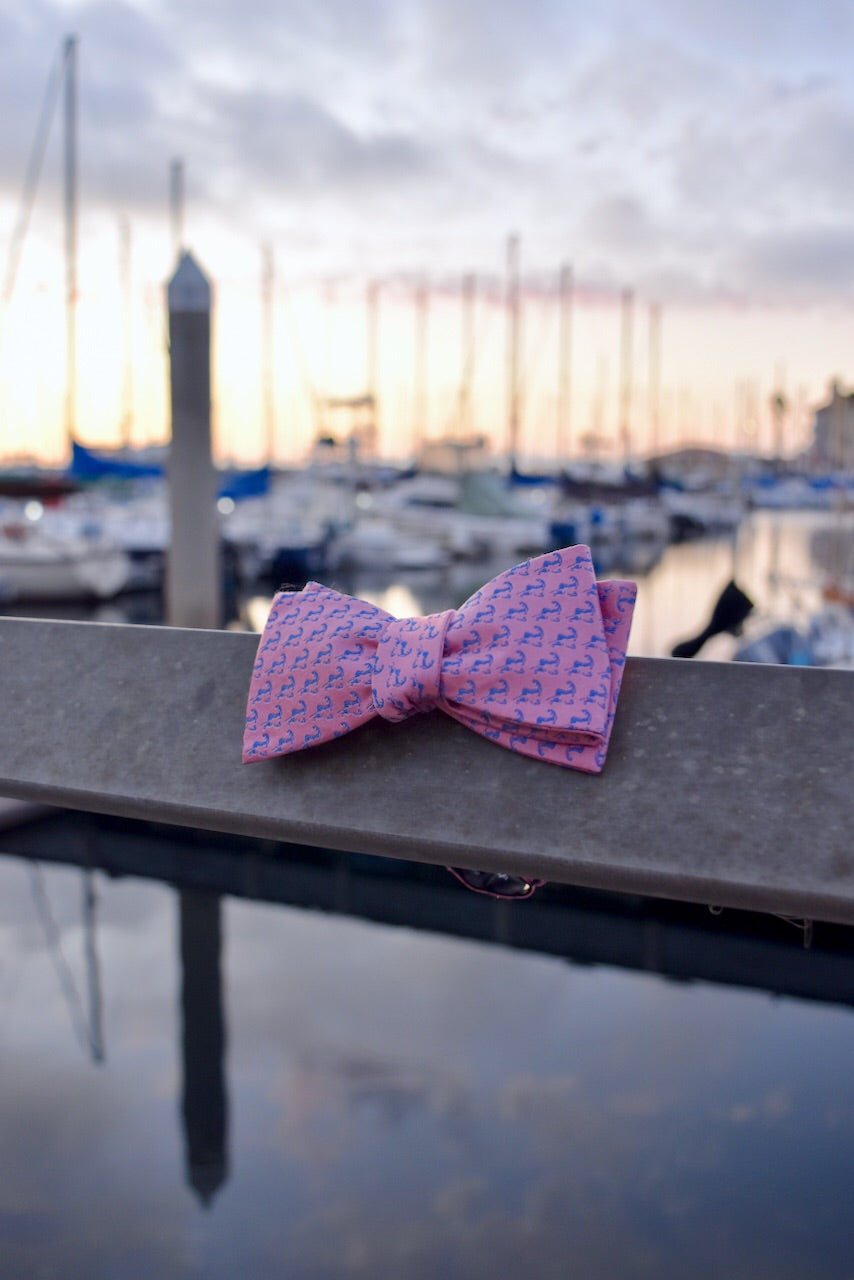 Pink and Navy Blue Cape Cod and the Islands Bow tie- 100% Silk
