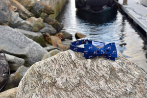 "Navy Blue and Pink Cape Cod and the Islands ""Twill"" Bow Tie- 100% Silk"