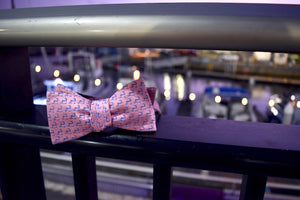 "Pink and Navy Blue ""Twill"" Cape Cod and the Islands Bow Tie-100% Silk"