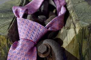 "Pink and Navy Blue Cape Cod and the Islands ""Twill"" Neck tie- 100% Silk"