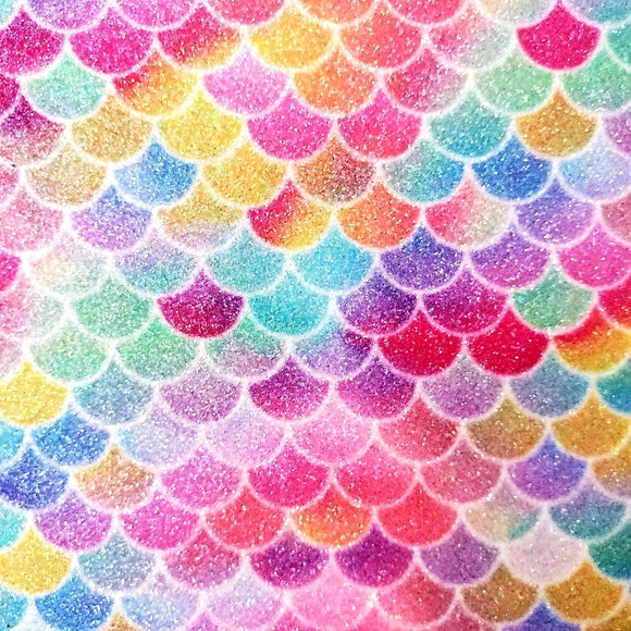 Faux Leather Canvas Sheet - Mermaid Rainbow Glitter