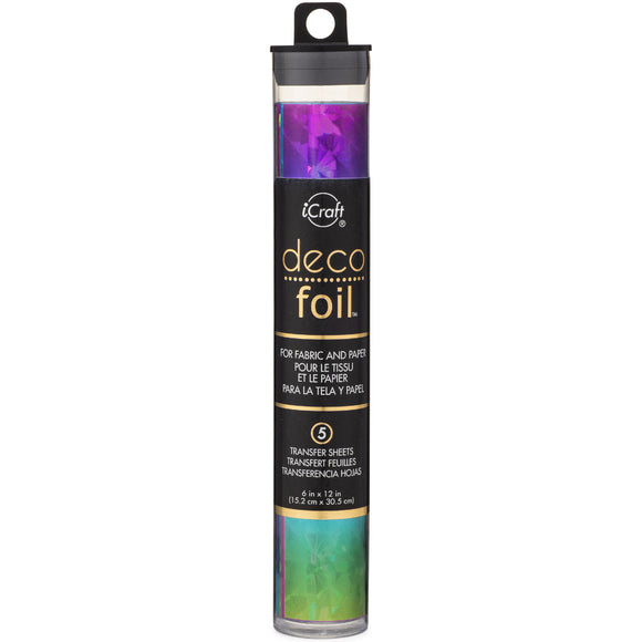 iCraft Deco Foil 5 Sheet Tube - Rainbow Shattered Glass