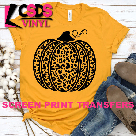 Screen Print Transfer - Leopard Pumpkin - Black