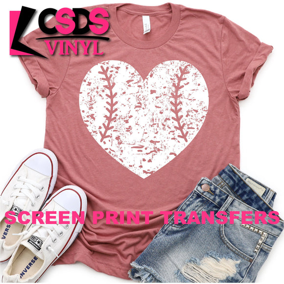 Screen Print Transfer - Distressed Baseball/Softball Heart - White