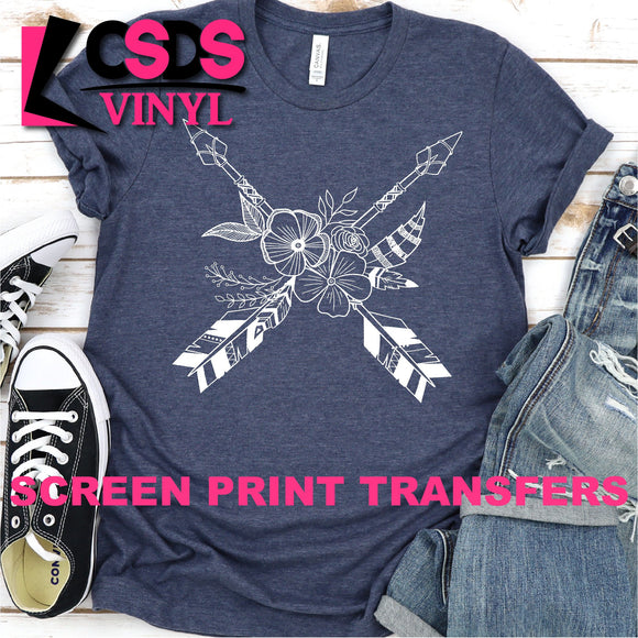 Screen Print Transfer - Boho Arrows and Flowers - White