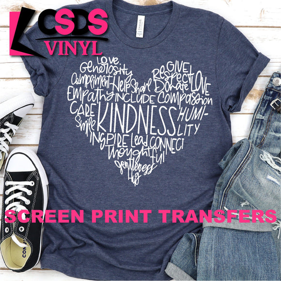 Screen Print Transfer - Kindness Heart Word Art - White