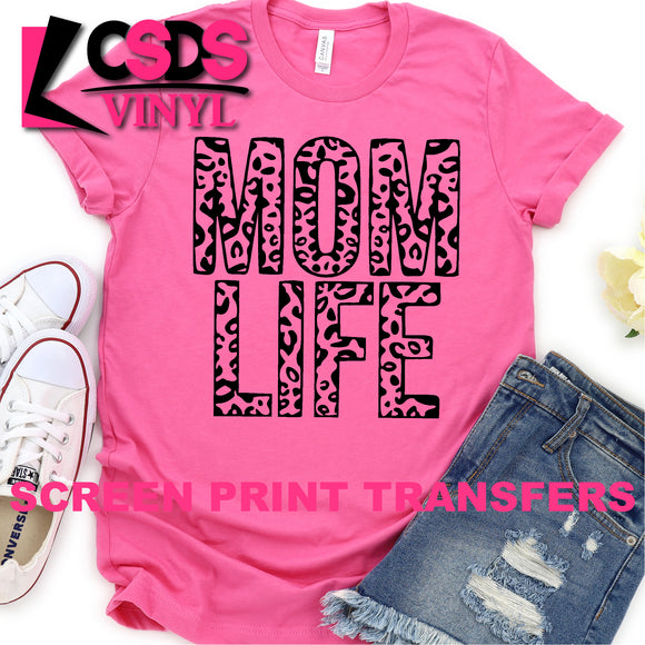 Screen Print Transfer - Mom Life Leopard - Black