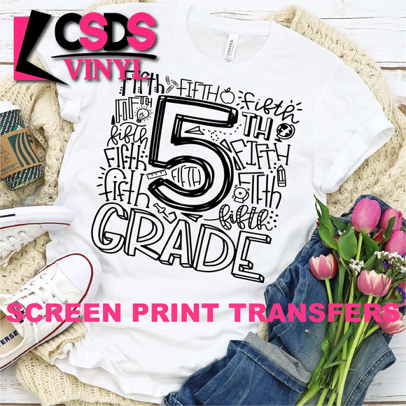 ***PRE ORDER*** Screen Print Transfer - Fifth Grade Typography - Black