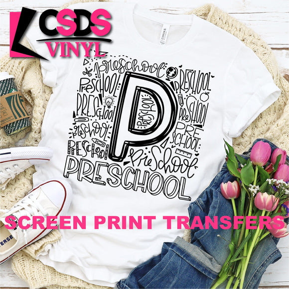 ***PRE ORDER*** Screen Print Transfer - Preschool Grade Typography - Black