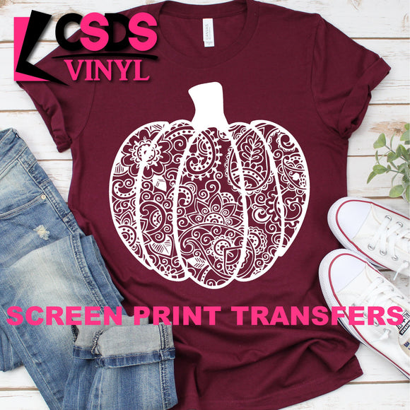 ***PRE ORDER*** Screen Print Transfer - Paisley Pumpkin - White