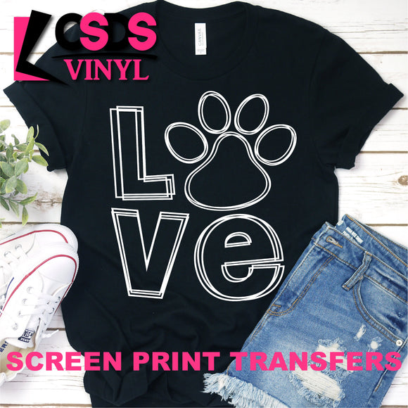 Screen Print Transfer - Love Paw Print - White