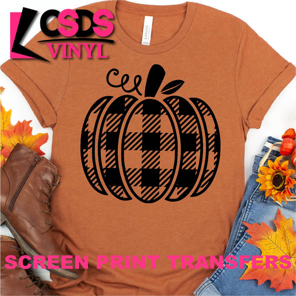 Screen Print Transfer - Buffalo Plaid Pumpkin - Black