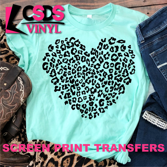 Screen Print Transfer - Leopard Heart - Black