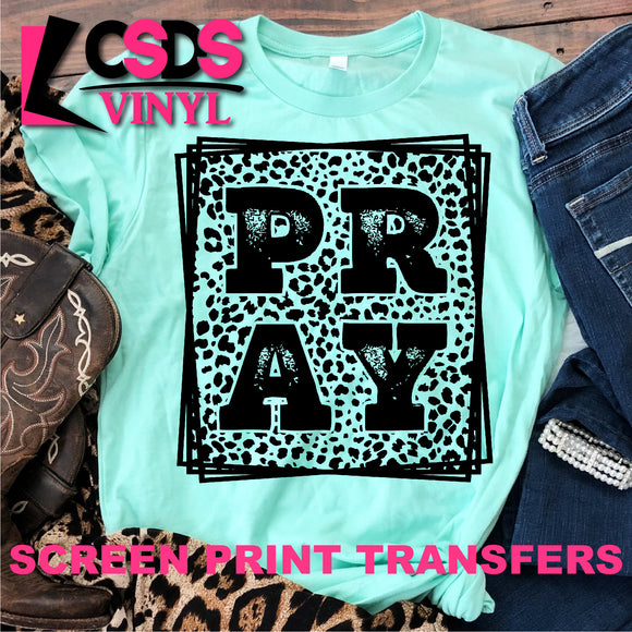 Screen Print Transfer - Leopard PRAY - Black