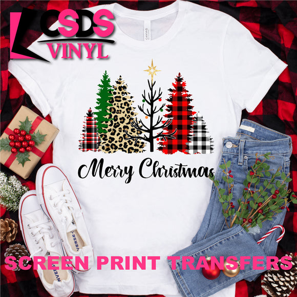 Screen Print Transfer - Merry Christmas Trees - Full Color
