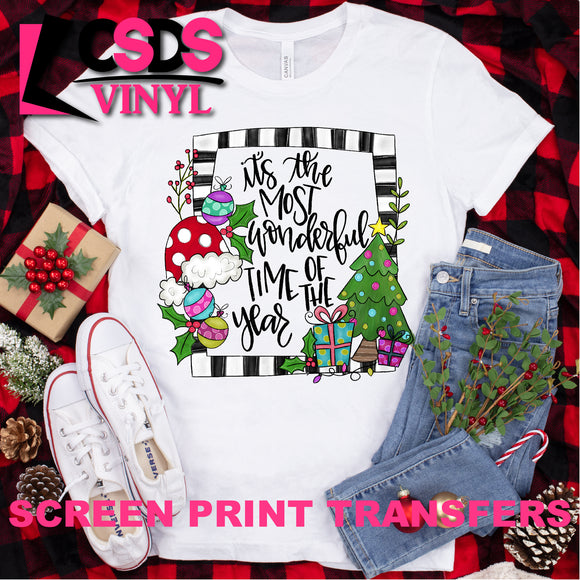 Screen Print Transfer - Christmas The Most Wonderful Time - Full Color