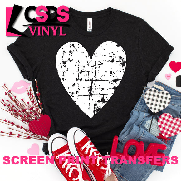 Screen Print Transfer - Distressed Heart - White