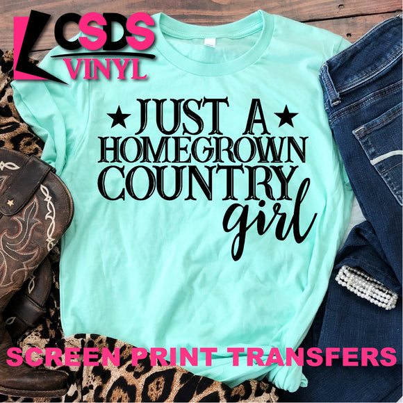 Screen Print Transfer - Homegrown Country Girl - Black